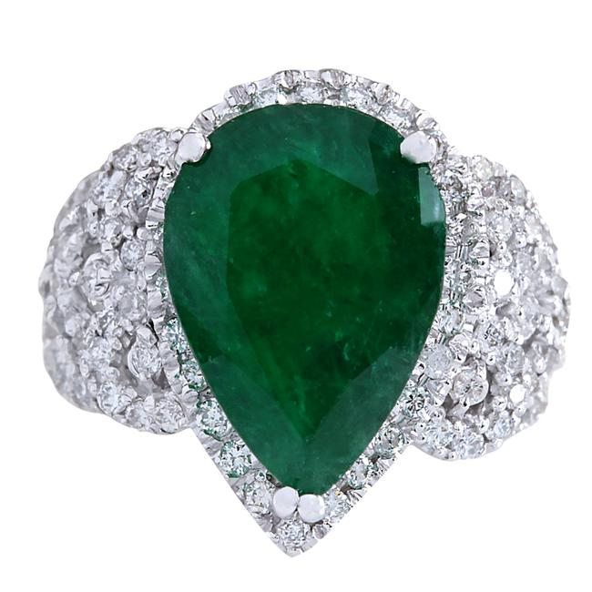 Fashion Strada Green 8.20ctw Natural Emerald and Diamond In 14k White Gold Ring Fashion Strada Green 8.20ctw Natural Emerald and Diamond In 14k White Gold Ring Image 1