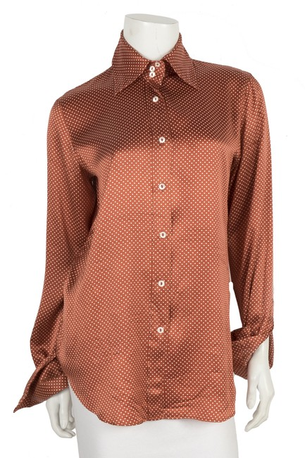Preload https://img-static.tradesy.com/item/25587173/dolce-and-gabbana-orange-dolce-and-gabbana-polka-dot-button-up-40-button-down-top-size-8-m-0-0-650-650.jpg