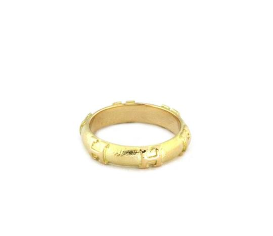 Hermes H Logo 18k Yellow Gold 4mm Dome Band Ring Image 2