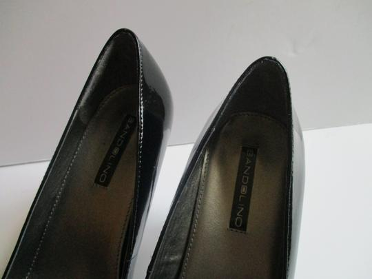 Bandolino Almond Toe Pewter Insoles Patent Leather Black Pumps Image 9