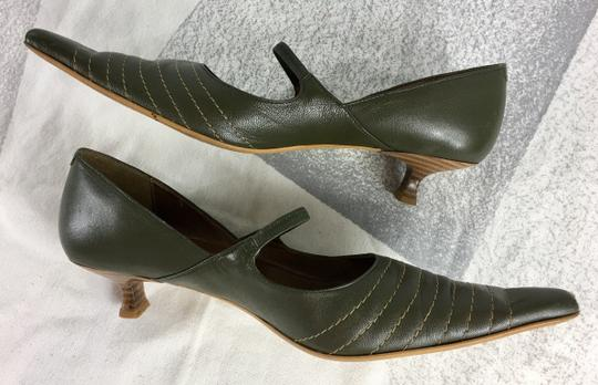Bianco Footwear Pointed Toe Strappy Green Pumps Image 3