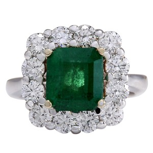 Fashion Strada Green 4.95 Carat Natural Emerald 14k White Gold Diamond Ring