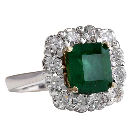 Fashion Strada Green 4.95 Carat Natural Emerald 14k White Gold Diamond Ring Image 1