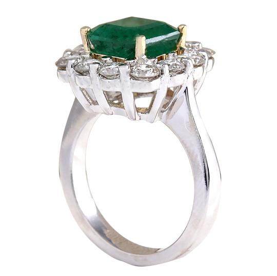 Fashion Strada Green 4.95 Carat Natural Emerald 14k White Gold Diamond Ring Image 2