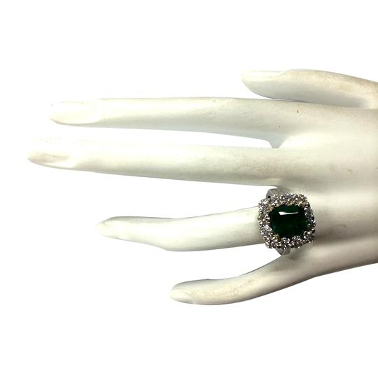 Fashion Strada Green 4.95 Carat Natural Emerald 14k White Gold Diamond Ring Image 3
