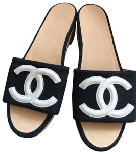 Chanel Black, white Mules