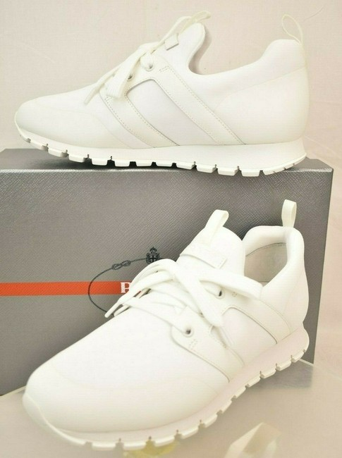 Item - White Bianco Neoprene Lace Up Lettering Logo Sneakers 7 Us 8 Shoes