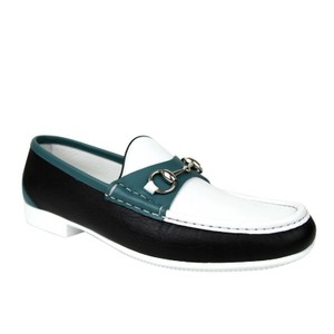 Gucci White / Black / Blue Horsebit White/ / Leather Loafer Moccasin 337060 Ayo70 1067 Shoes