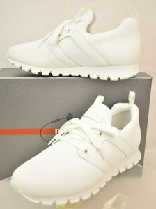 Prada White Bianco Neoprene Lace Up Lettering Logo Sneakers 8 Us 9 Shoes