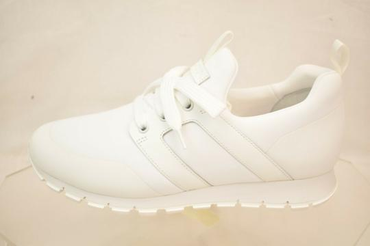 Prada White Bianco Neoprene Lace Up Lettering Logo Sneakers 8 Us 9 Shoes Image 3