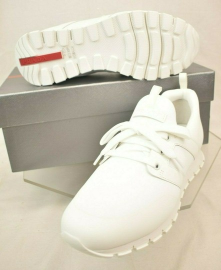 Prada White Bianco Neoprene Lace Up Lettering Logo Sneakers 8 Us 9 Shoes Image 5