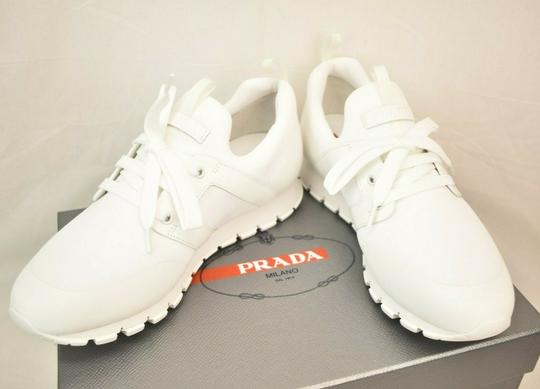 Prada White Bianco Neoprene Lace Up Lettering Logo Sneakers 8 Us 9 Shoes Image 6
