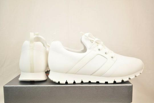Prada White Bianco Neoprene Lace Up Lettering Logo Sneakers 8 Us 9 Shoes Image 8