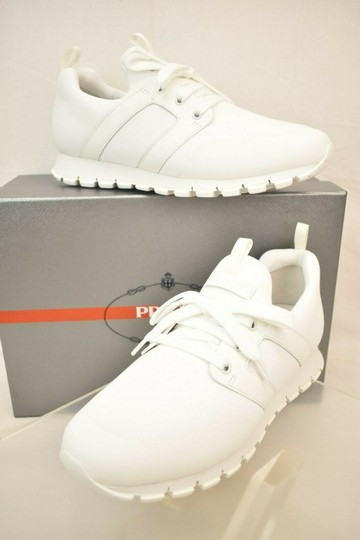 Prada White Bianco Neoprene Lace Up Lettering Logo Sneakers 10 Us 11 Shoes Image 1