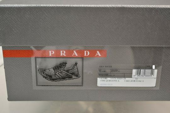 Prada White Bianco Neoprene Lace Up Lettering Logo Sneakers 10 Us 11 Shoes Image 11