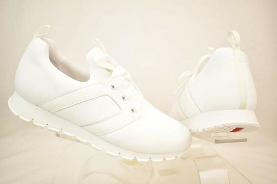 Prada White Bianco Neoprene Lace Up Lettering Logo Sneakers 10 Us 11 Shoes Image 2