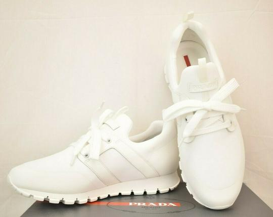 Prada White Bianco Neoprene Lace Up Lettering Logo Sneakers 10 Us 11 Shoes Image 5