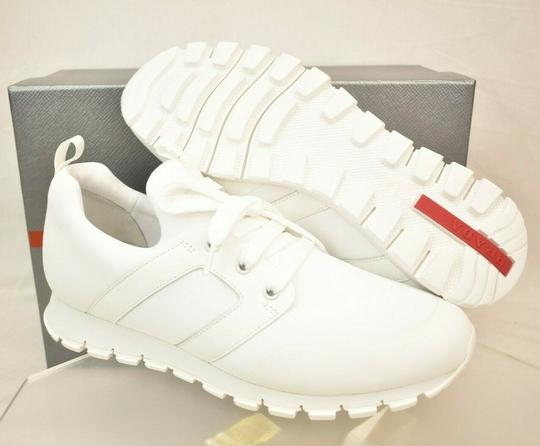 Prada White Bianco Neoprene Lace Up Lettering Logo Sneakers 10 Us 11 Shoes Image 7