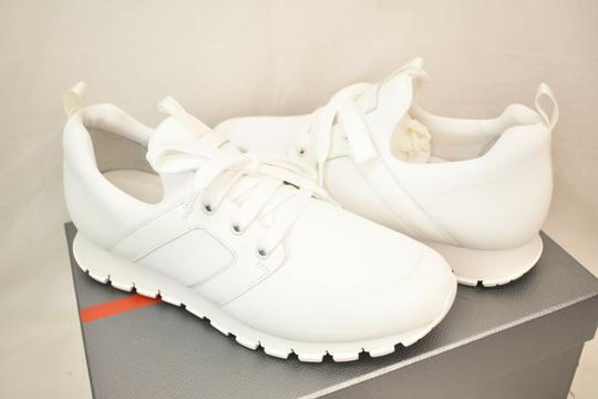 Prada White Bianco Neoprene Lace Up Lettering Logo Sneakers 10 Us 11 Shoes Image 9