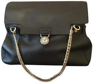 Versace Leather Gold Tote in Black