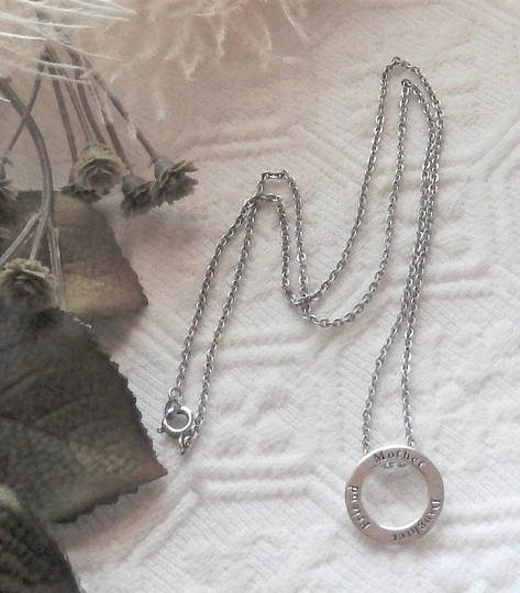 Unknown Sterling Silver Mother Daughter Friend Open Circle 18 Inch Necklace Image 1