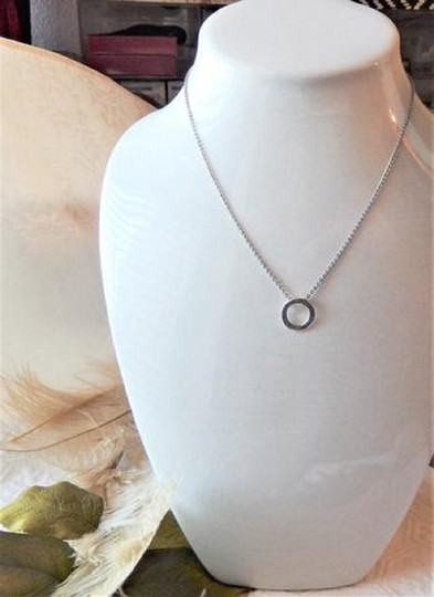 Unknown Sterling Silver Mother Daughter Friend Open Circle 18 Inch Necklace Image 3
