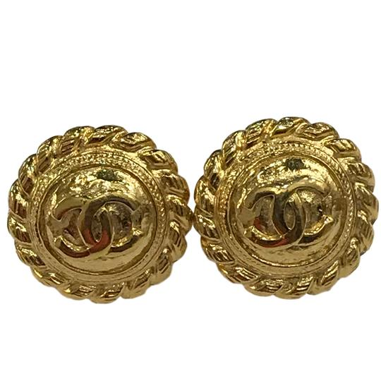 Chanel CHANEL Vintage CC Logos Earrings Gold-Tone Clip-On 7477 Image 2