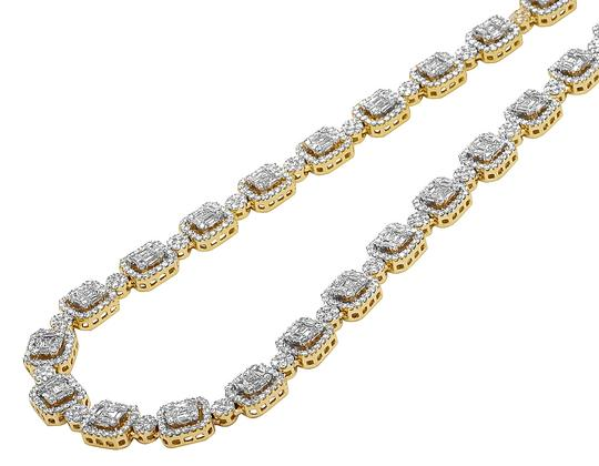 Jewelry Unlimited 10K Yellow Gold 9MM Baguette Diamond Choker Chain Necklace 15.8 CT 18