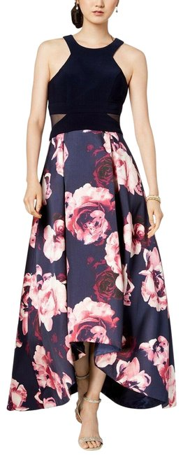 Item - Blue Solid & High-low Navy Blush Gown (2p) Mid-length Formal Dress Size Petite 2 (XS)
