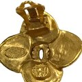 Chanel Chanel 96 A CC Logo Gold Plated Flower Clip On Earring 7478 Image 10