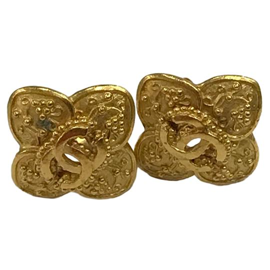 Chanel Chanel 96 A CC Logo Gold Plated Flower Clip On Earring 7478 Image 2