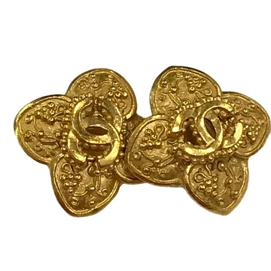 Chanel Chanel 96 A CC Logo Gold Plated Flower Clip On Earring 7478 Image 3