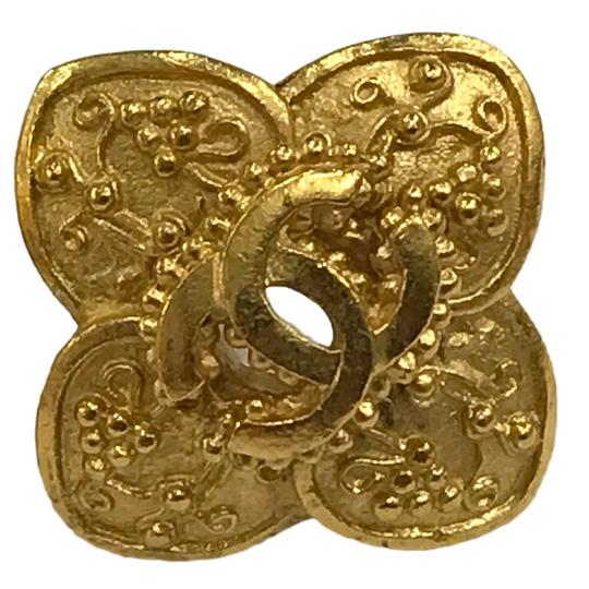 Chanel Chanel 96 A CC Logo Gold Plated Flower Clip On Earring 7478 Image 4