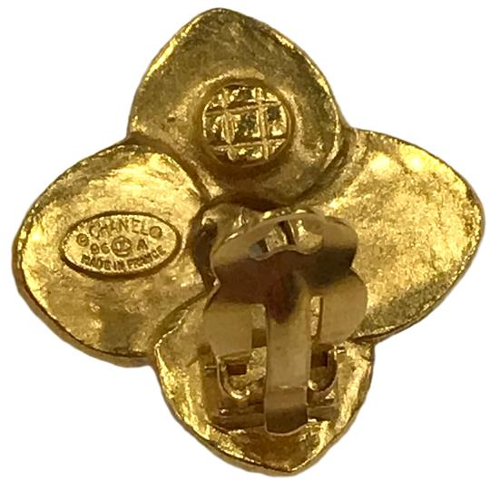 Chanel Chanel 96 A CC Logo Gold Plated Flower Clip On Earring 7478 Image 9
