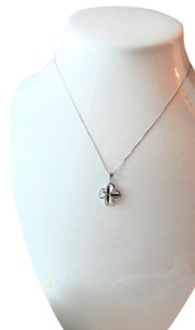 Unknown Signed Italian Sterling Silver 4 Leaf Clover Flower 18 Inch Box Chain