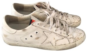 Golden Goose Deluxe Brand white and gold Athletic