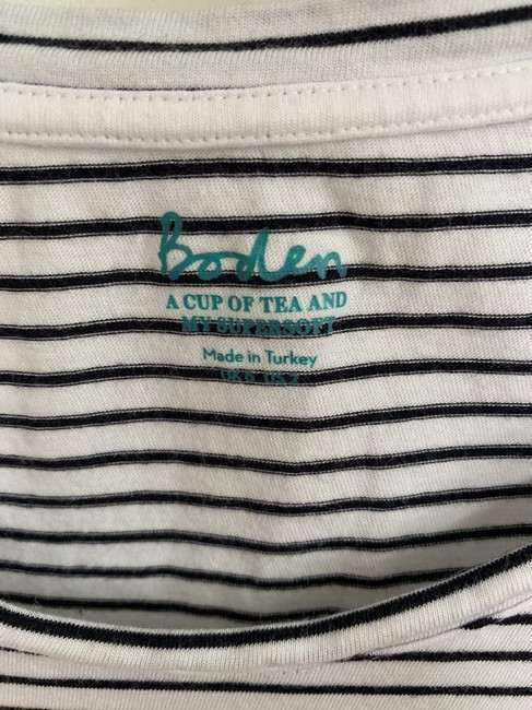 Boden T Shirt White and black stripe Image 1