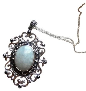 SLC Sterling Silver Chalcedony Marcasite 18 Inch Necklace
