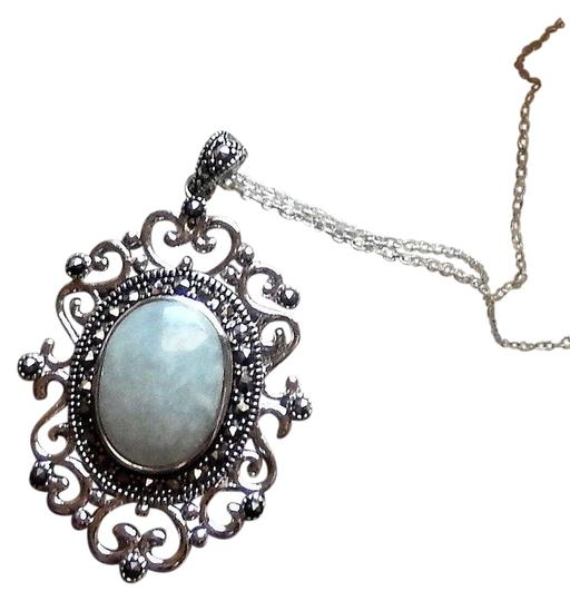 Preload https://img-static.tradesy.com/item/25587831/blue-sterling-silver-chalcedony-marcasite-18-inch-necklace-0-1-540-540.jpg