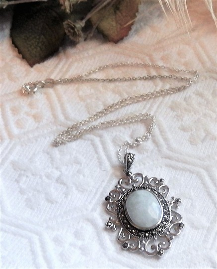 SLC Sterling Silver Chalcedony Marcasite 18 Inch Necklace Image 1