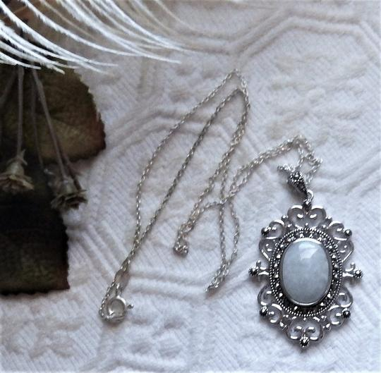 SLC Sterling Silver Chalcedony Marcasite 18 Inch Necklace Image 2