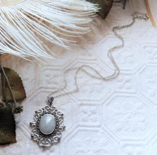 SLC Sterling Silver Chalcedony Marcasite 18 Inch Necklace Image 3