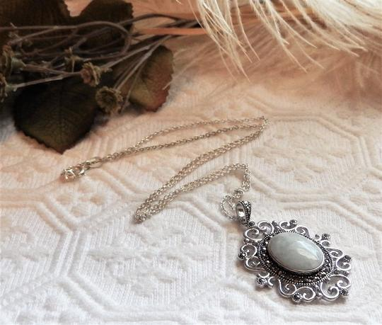 SLC Sterling Silver Chalcedony Marcasite 18 Inch Necklace Image 4