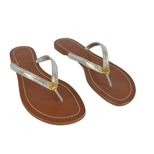 Tory Burch Terra Thong Silver Sandals Image 1