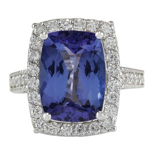 Fashion Strada Blue 6.74 Carat Natural Tanzanite 14k White Gold Diamond Ring