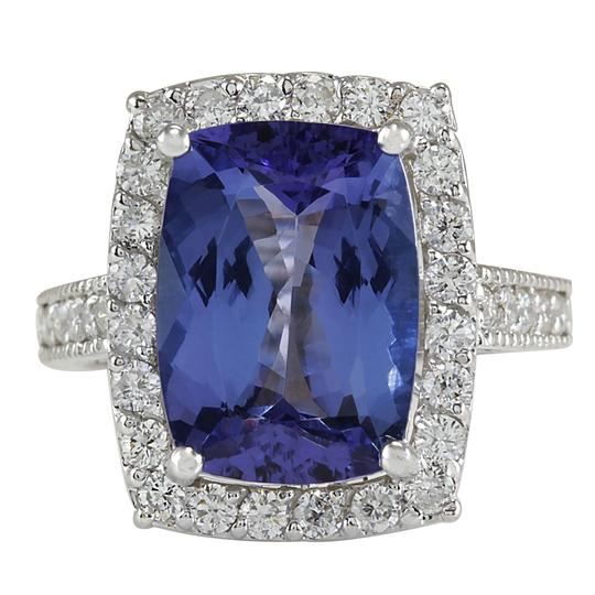 Preload https://img-static.tradesy.com/item/25588113/blue-674-carat-natural-tanzanite-14k-white-gold-diamond-ring-0-0-540-540.jpg