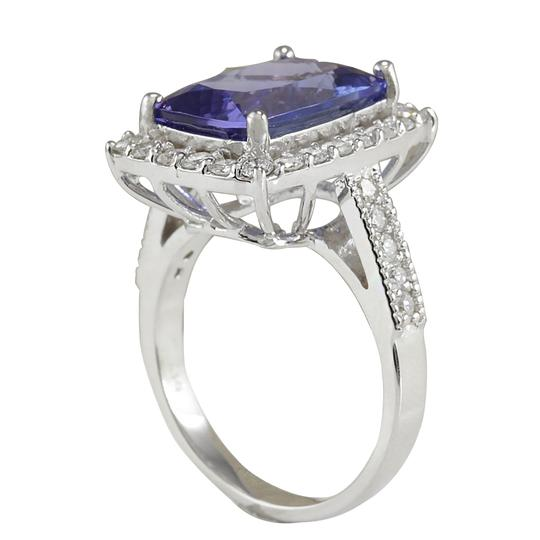 Fashion Strada Blue 6.74 Carat Natural Tanzanite 14k White Gold Diamond Ring Image 2