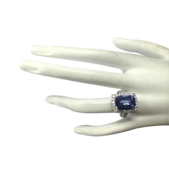 Fashion Strada Blue 6.74 Carat Natural Tanzanite 14k White Gold Diamond Ring Image 3