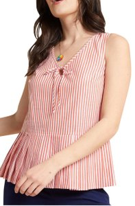 Modcloth Pleated Peplum Casual Striped Top Orange