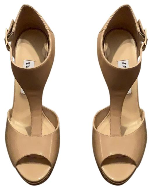 Jimmy Choo Nude Patent Leather Sandals Platforms Size US 10 Regular (M, B) Jimmy Choo Nude Patent Leather Sandals Platforms Size US 10 Regular (M, B) Image 1